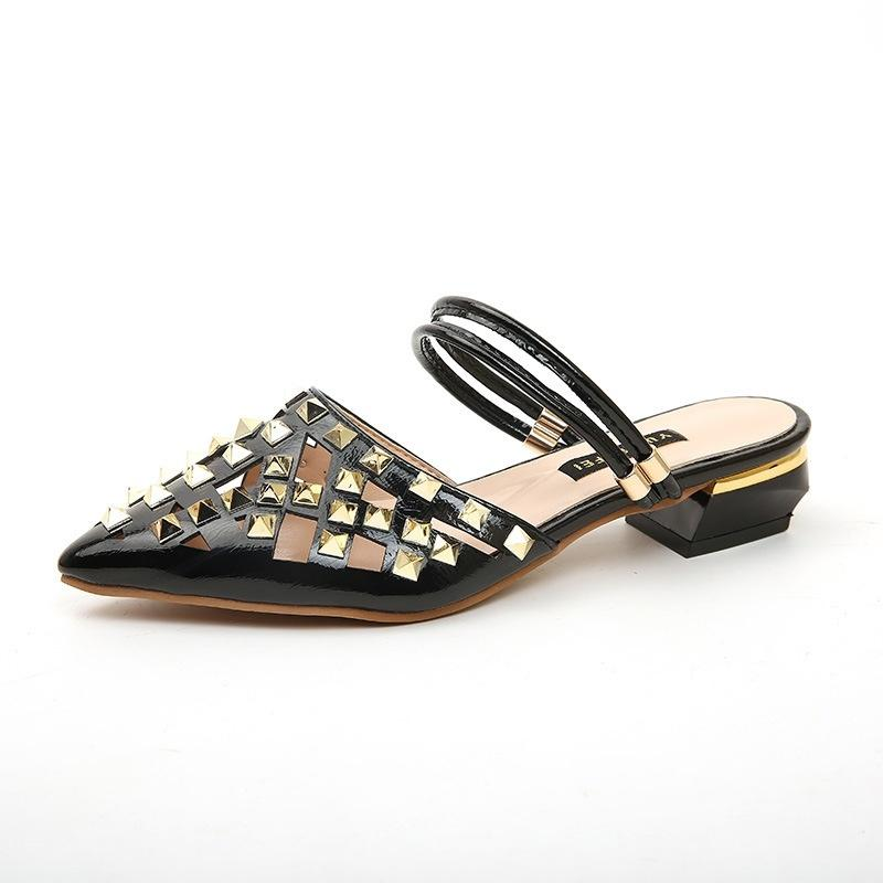 0a8dd0856e6f 2019 New Summer Women Slippers Classics Flat Heels Rivet Shoes Woman ...