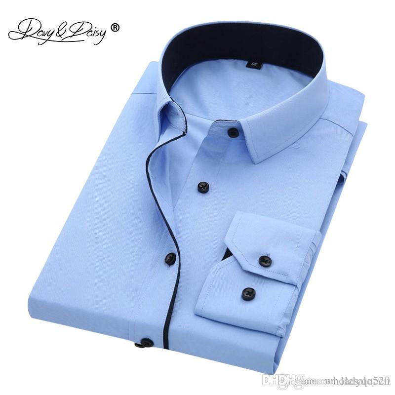 de3f7822ec Compre DAVYDAISY Alta Qualidade Camisa Dos Homens De Manga Longa De Sarja Sólidos  Formais Camisa De Negócios Marca Homem Camisas De Vestido DS085 De ...
