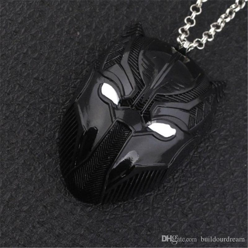 3 Colors Black Panther Necklace With Engraved Black Panther Mask Pendant Fashion Superhero Statement Jewelry Accessories For Men'S Gift 0717