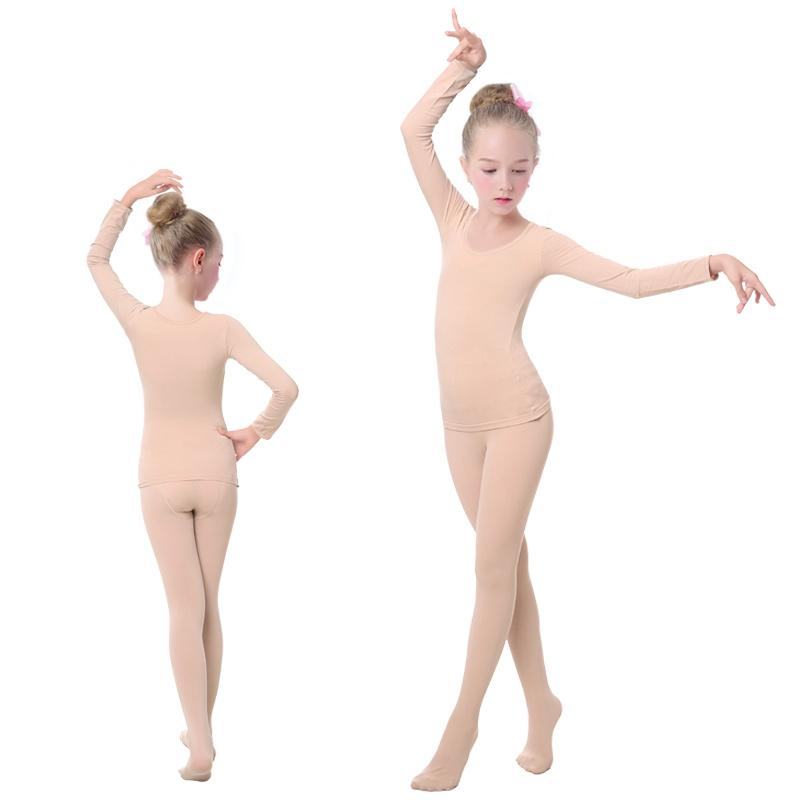 Girls Kids Ballet Underwear Suit Nude Leotards Tights Ballet Outfit Strong Stretch Thermal Underwear For Dance