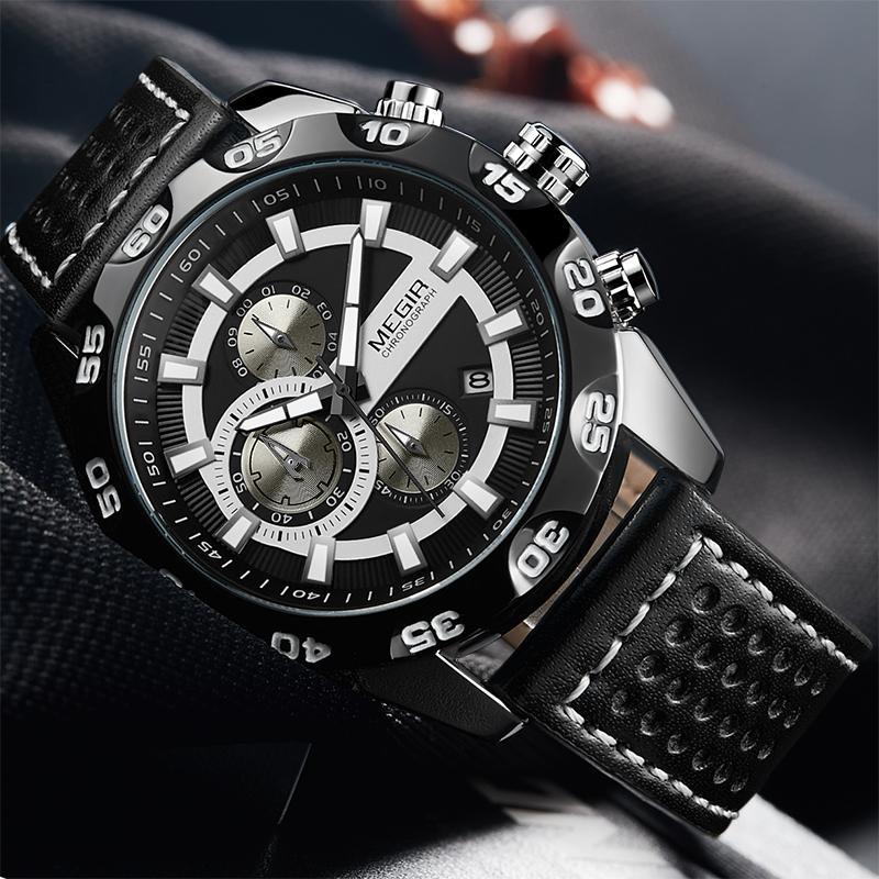 d32b9973aa1 Compre Homens MEGIR Relógios Top Marca De Luxo Reloj Hombre Moda Retro  Militar Esportes Cronógrafo De Quartzo Relógio De Pulso Relogio Masculino  De ...