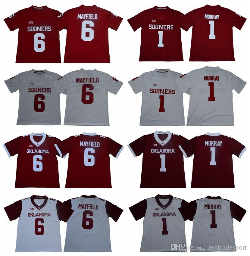 2019 2018 Oklahoma Sooners 1 Kyler Murray 6 Baker Mayfield College Football  Jerseys Mens Home Red Murray Mayfield Stitched Football Shirts From ... 6e5eff607