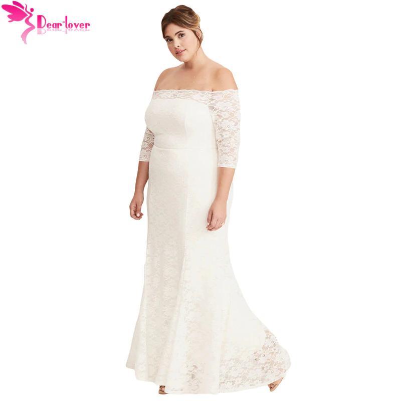 124c0aae572d5 New Plus Size Dress For Women 4xl 5xl White Plus Size Lace Off Shoulder  Party Maxi Dress Vestido De Festa Longo Lc610302