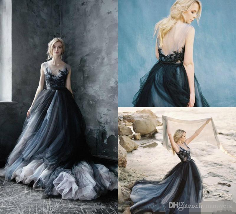 compre vestidos de boda góticos del tamaño extra grande sheer jewel