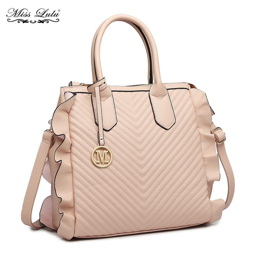 Miss Lulu Women Leather Handbags Ladies Shoulder Bags Female Flounce ... 3d5ce9a4eb3d7