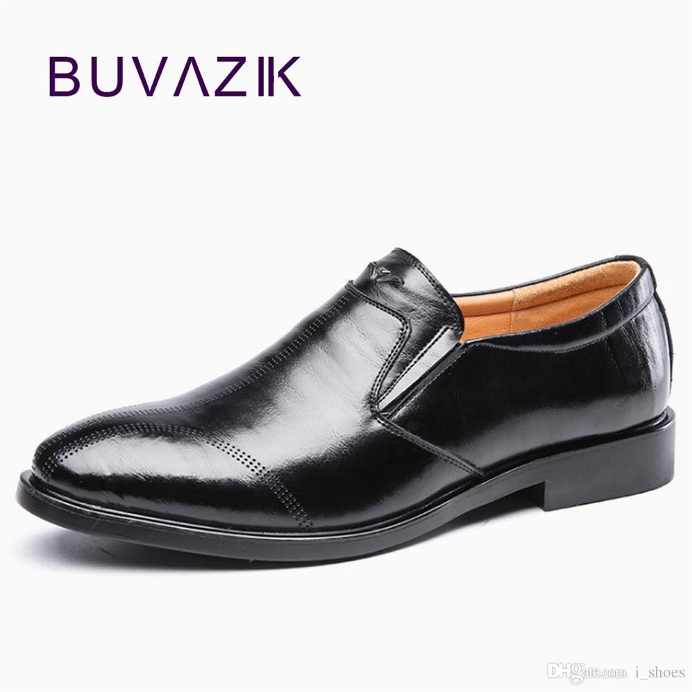 nuovo autunno uomini abito scarpe in pelle punta rotonda scarpe da uomo formale in pelle crosta slip on Solido ufficio suola spessa # 7823