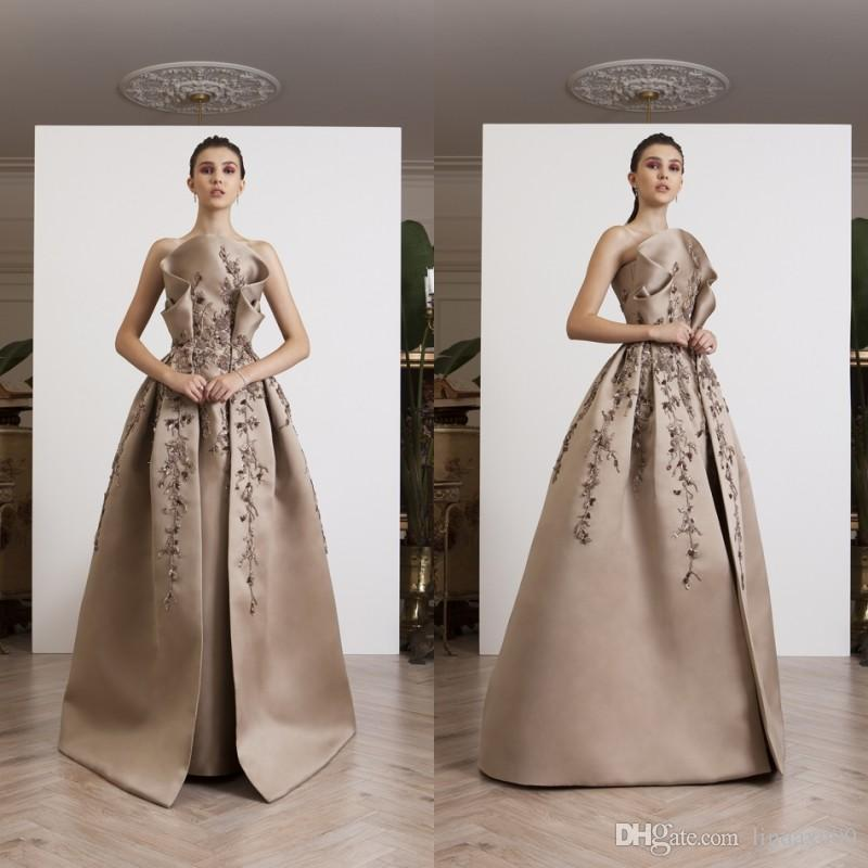 049b67280df Azzi Osta 2019 New Evening Dresses Beaded Strapless Ruffles Lace Prom Dress  Satin Floor Length Long Formal Party Dress Plus Size Evening Dresses  Strapless ...