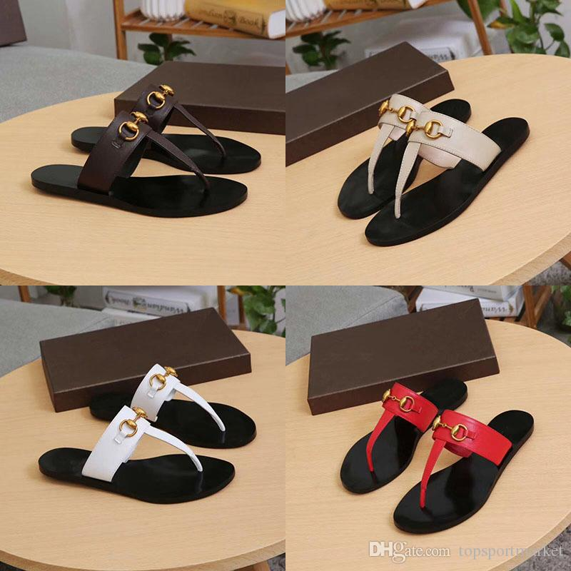 ddbbf29bb Leather Thong Sandals Metal Chain Flip Flops Slippers Women Luxury Desinger Shoes  Fashion Thin Black Brand GGShoes GGFlipflops Black White Winter Boots ...
