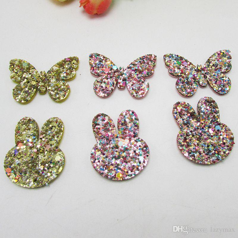 Girls Rabbit Hair Accessories Shiny Gold Powder DIY Gifts Decorative Accessories For Clothes And Clips Cup Cake Toppers 300 Pieces DHL
