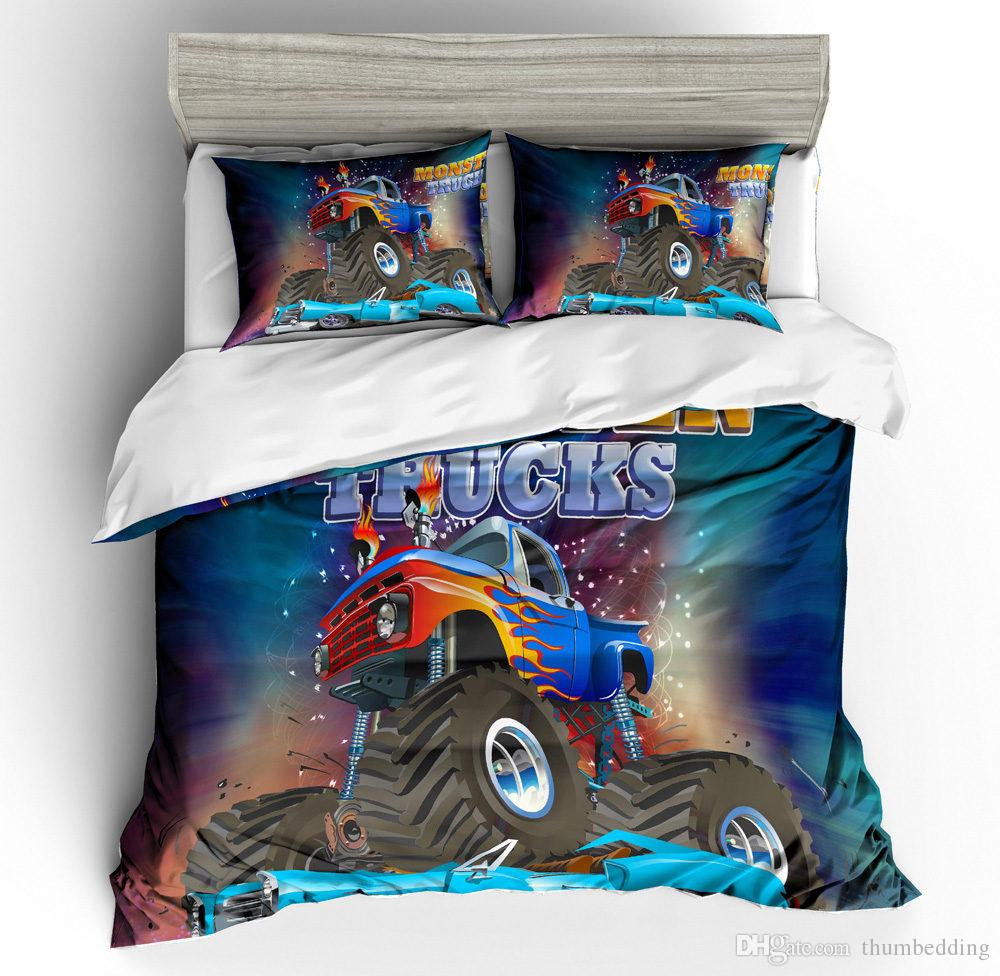 Thumbedding Dropship Colorful Cartoon Bedding Sets Truck For Kids Twin Full Queen King Single Double 3D Duvet Cover Set with Pillowcase