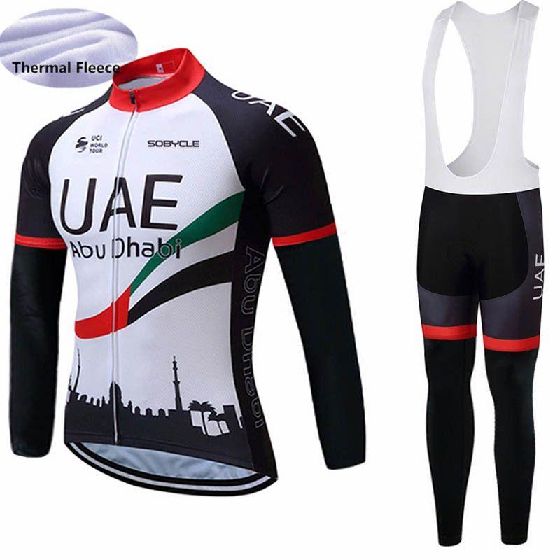 2019 Team Men Cycling Jersey Set Long Sleeve Winter Thermal Fleece ... f4dc865e6