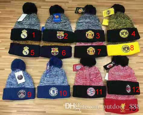 MAN UNITED ACM Hight quality football club Beanies men women autumn winter beanies knitted letter embroidery casual ladies pom-pom gorro