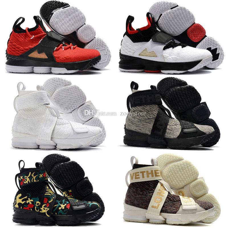 check out 01117 b214f Mens Kith Lebron 15 XV high top basketball shoes lifestyle Cloak Black  Floral outdoor sneakers shoes
