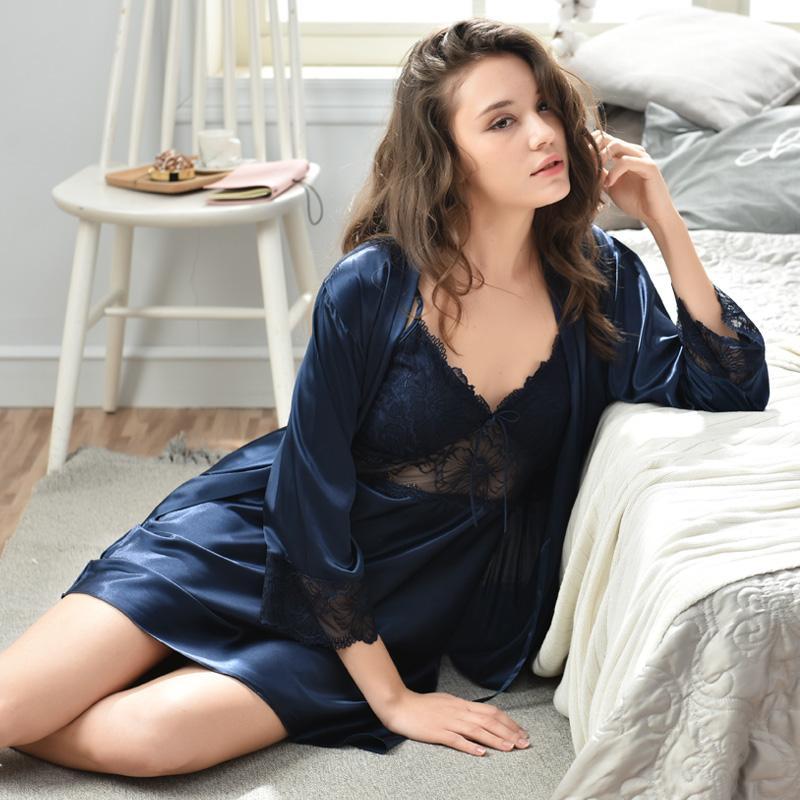 ca34ed3ad2 2019 Xifenni Sexy Silk Robe Sets Female Elegant Lace Bathrobe + Nightdress  Two Piece Soft Faux Silk Woman Sleepwear Nightgowns F2821 From Zhaolinshe