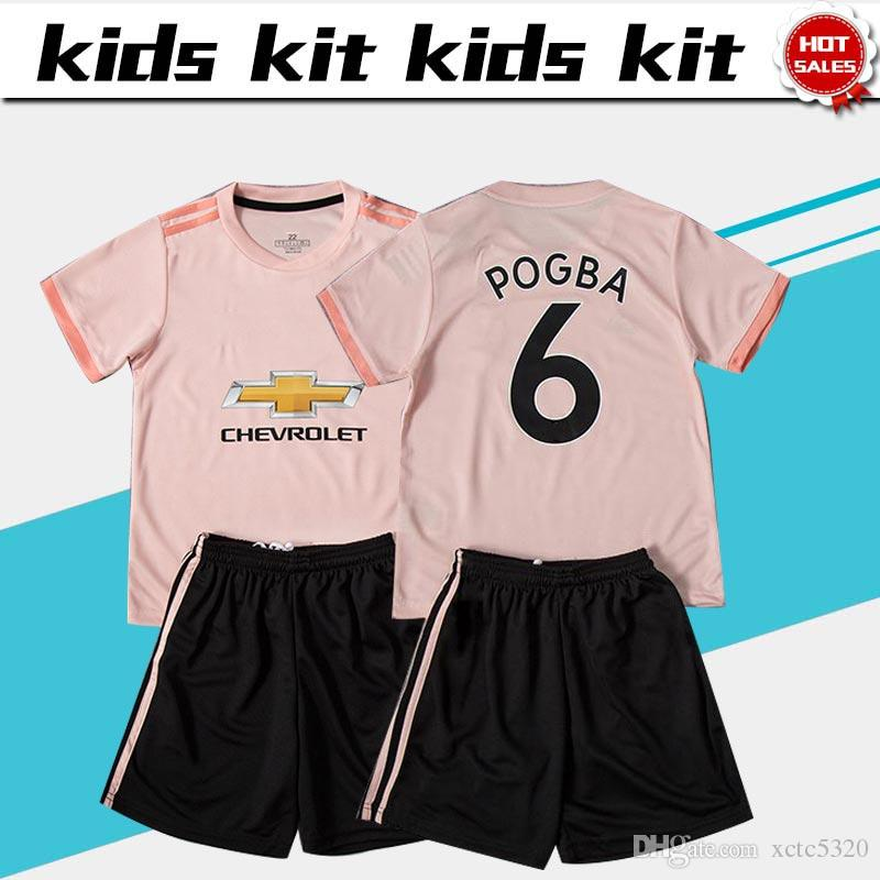 sale retailer 0ee92 4d319 2019 Kids Kit #6 POGBA Soccer Jerseys Away Pink Football Shirt 18/19 #7  ALEXIS #9 LUKAKU #10 RASHFORD Pink Soccer Jersey Sets Child Kits