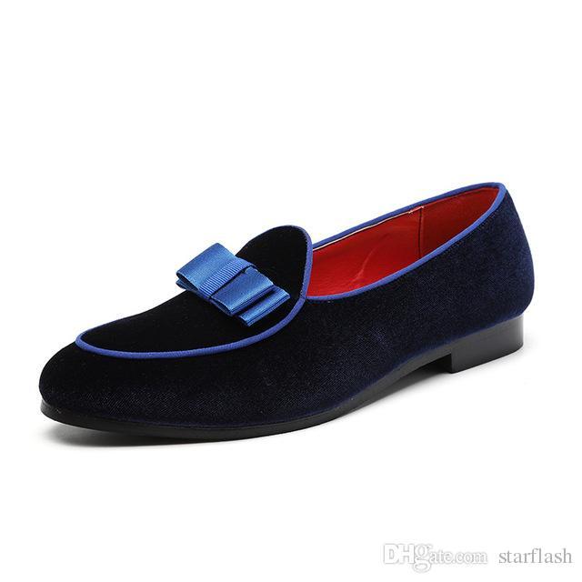 d9e5f78831 Compre Designer De Luxo Homens Se Vestem Sapatos De Camurça Mocassins De  Couro De Alta Qualidade Mocassins Bowtie Preto Azul Vermelho Deslizamento  Em ...