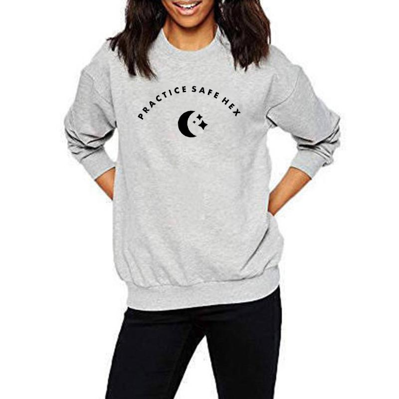 58e66f83ddaf 2019 EnjoytheSpirit PRACTICE SAFE HEX Happy Halloween Funny Sweatshirt  Unisex Witchy Magic Moon Start Print Good Quality Jumpers From Armhole, ...