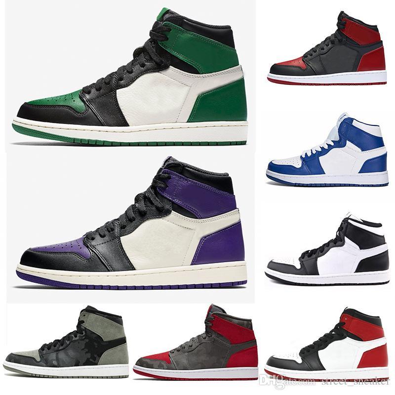 reputable site 1663c 7cb30 Acheter Nike Air Jordan 1 2018 Court Purple Pine Green Mid OG 1 Top 3  Chaussures De Basketball Pour Hommes 1s Banned Bred Baskets De Sport  Chicago Royal ...