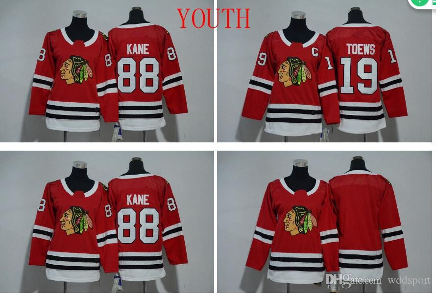24c004dba8a 2019 2018 Youth Kids Chicago Blackhawks Jerseys 19 Jonathan Toews 88  Patrick Kane Boys Jerseys Authentic Stitched Ice Hockey Jerseys From  Wddsport, ...