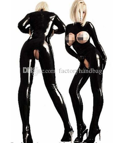 Sexy Women Catsuit Open Bust Bodysuit Cat Open Crotch PVC Latex Catsuit Tight Fitting Jumpsuits Club Dance Wear with Glove zipper
