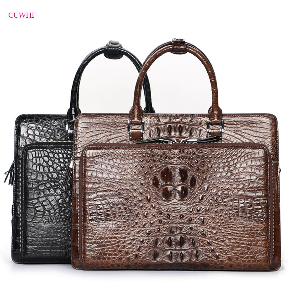 a3100656487a CUWHF 100% real crocodile skin Men s Briefcase Tote Genuine leather men  travel laptop bags business shoulder laptop bag men bag