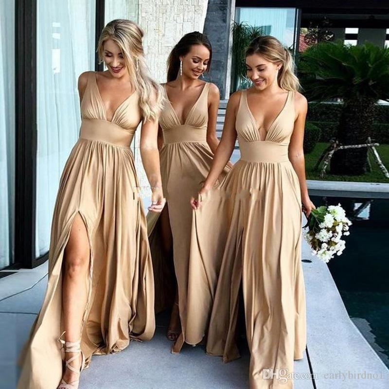 Real Pictures 2019 Sexy Long Gold Bridesmaid Dresses Deep V Neck Empire Split Side Floor Length Champagne Beach Boho Wedding Guest Dresses