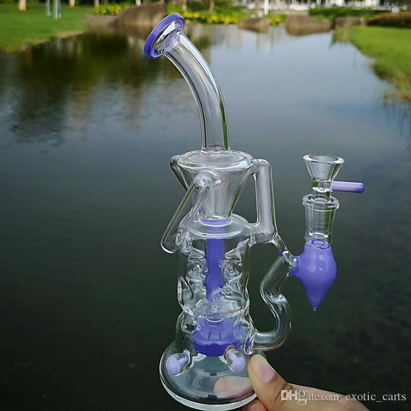 Double Recycler Glass Dab Rig Fab Egg Glass Water Bong Turbine Percolator Bong 4mm Thick Glass Bongs With 14mm Bowl
