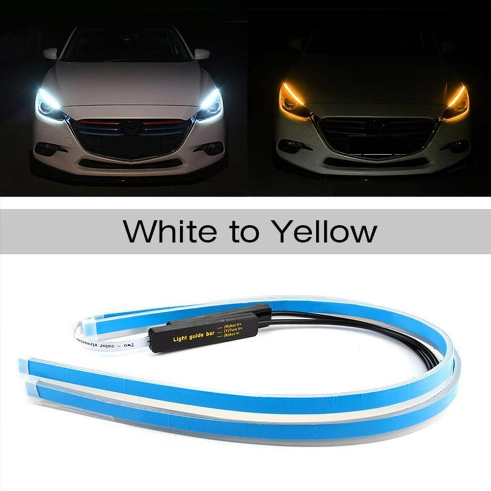2pcs Ultrafine Cars DRL LED Daytime Running Lights White Turn Signal Yellow Guide Strip for Headlight Assembly Drop Shipping