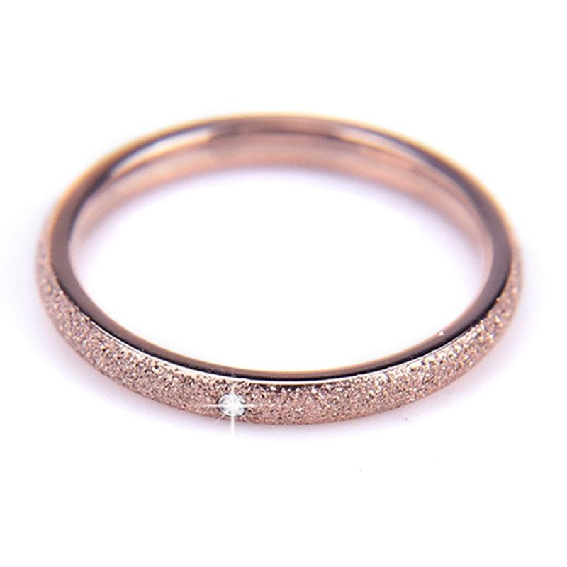 1Pcs New Scrub Stainless Steel Rings for Women Brand Titanium Ring Rose Color Small Simple Rings for Girls Wedding Gift