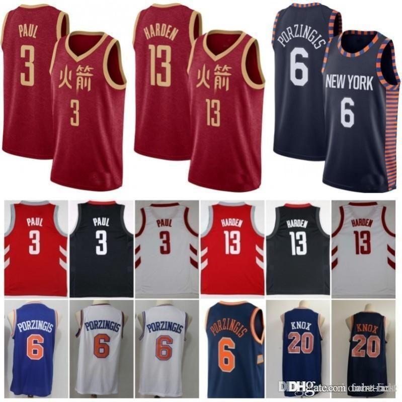 10a38fa0162 2019 2019 New City Rockets 13 Harden 3 Chris James Paul 2018 2019 Houston  Jersey Knicks 6 Porzingis Kevin Kristaps Knox New York  20 From Tobe Best