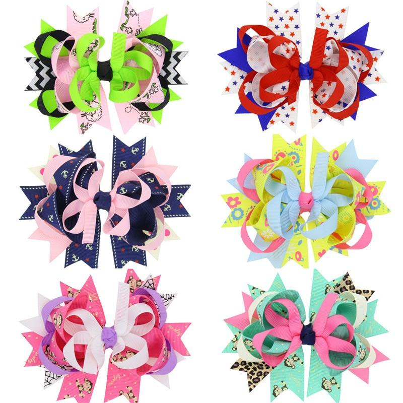 Swallow Tail Bow Hairpin For Girl Kids Hair Accessory Five Pointed Star Pattern Barrettes Multi Colors 2 5qnb D1