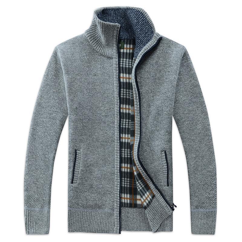 sale retailer 7e2a6 2de67 Mezza cerniera maglione di lana da uomo Cardigan spesso maglione uomo  maglioni lavorato a maglia manica lunga colletto da collo maschile  Sweatcoats ...