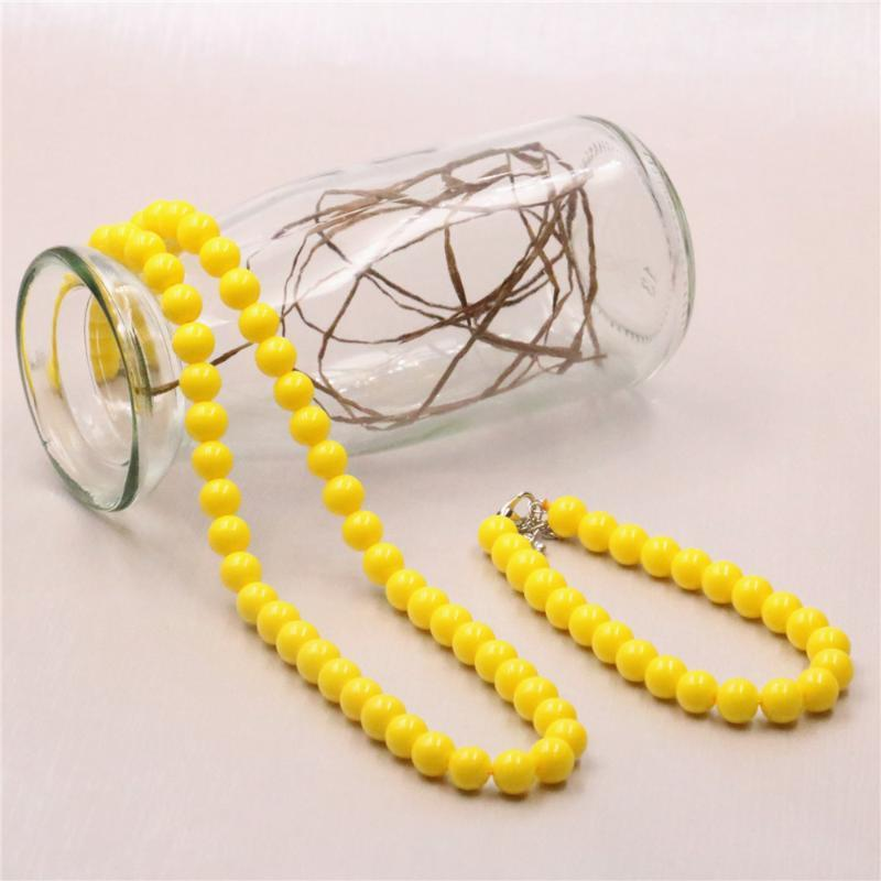 Trasporto libero dei monili 18inch Y540 Hot Lemon Yellow Shell artificiale perla di vetro rotonda di 8mm collana Set Donne Bead braccialetto