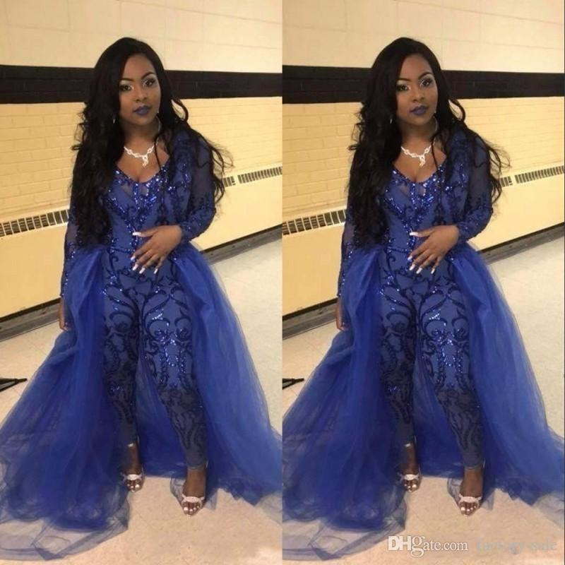 Royal Blue Evening Gowns Jumpsuits Long Sleeves Prom Dresses Detachable Train Lace Applique Luxury African Party Womens Pant Suits