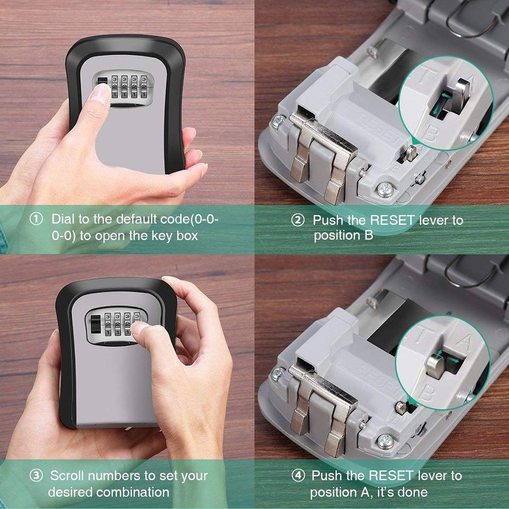 Hot Multifunctional Wall Mounted 4-Digit Combination Key Storage Lock Boxes  for House/car Keys
