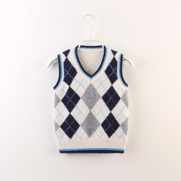 2d07d73cf57c4e Children s Cashmere Sweater Korean Wool Thick Warm Boys Girls Autumn And  Winter England Diamond Vest Christmas Pullovers For Kids Online with   29.06 Piece ...