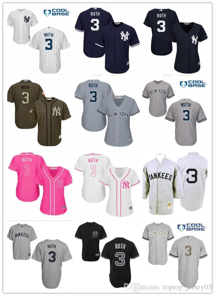 2019 2018 Top New York Yankees Jerseys  3 Babe Ruth Jerseys Men WOMEN YOUTH Men S  Baseball Jersey Majestic Stitched Professional Sportswear From ... a038f7bcb73