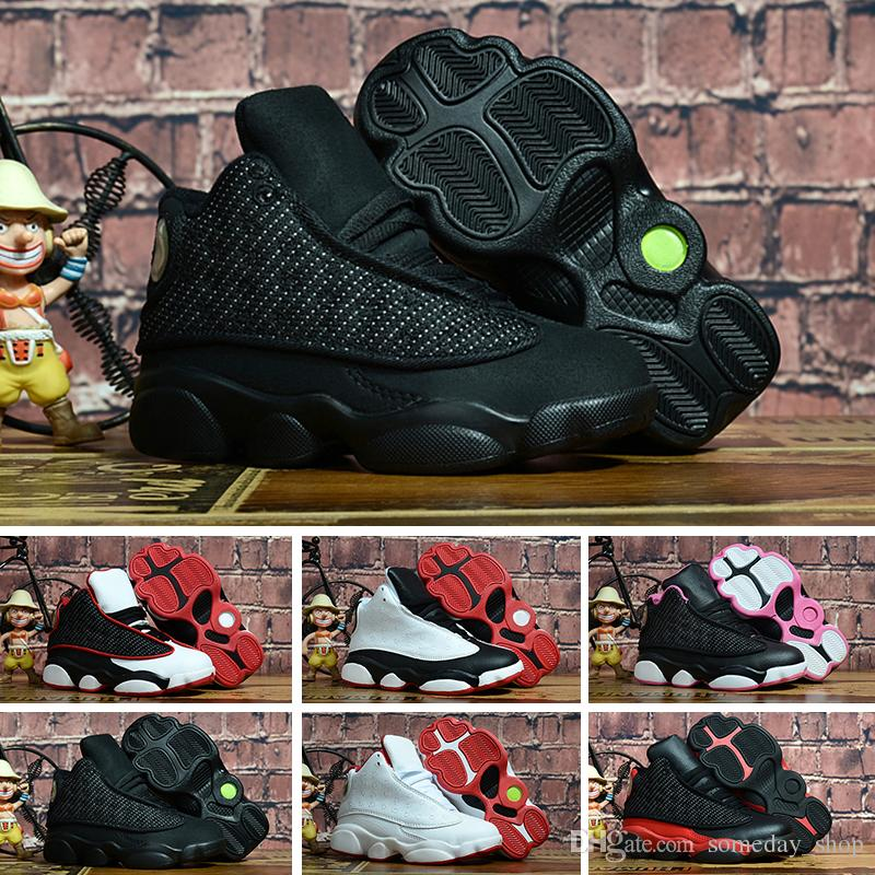 20512fb31f8622 13s Black Cats Toddler Sneakers Bred Flint Kids Basketball Shoes ...