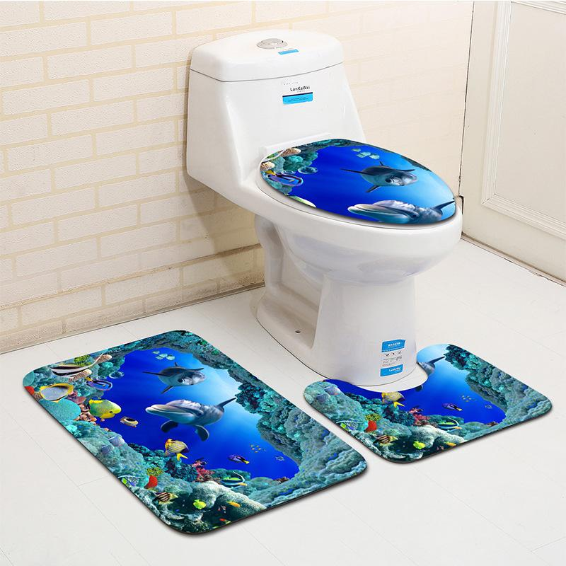 2019 Sea Shell Bathroom Toilet Mats Set Dolphin Bath Mat Non Slip No