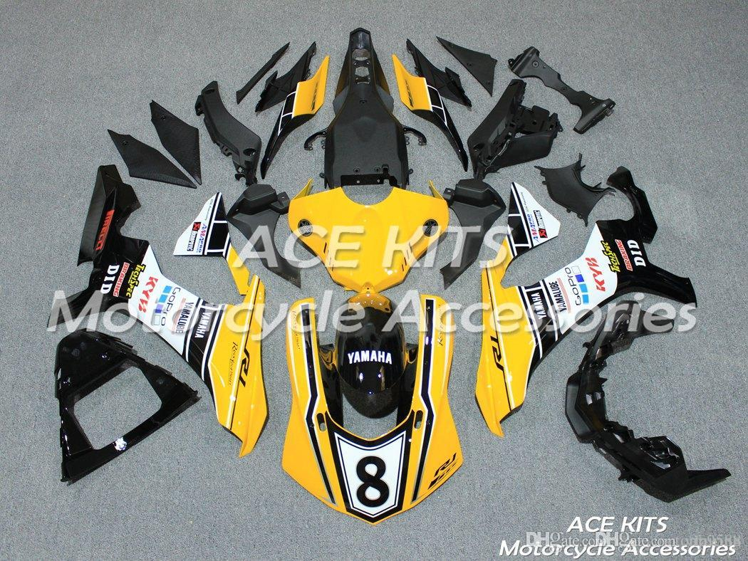 ACE KITS Motorcycle fairing For YAMAHA YZF R1 2015-2016 Injection or Compression Bodywork astonishing yellow black white NO.2239