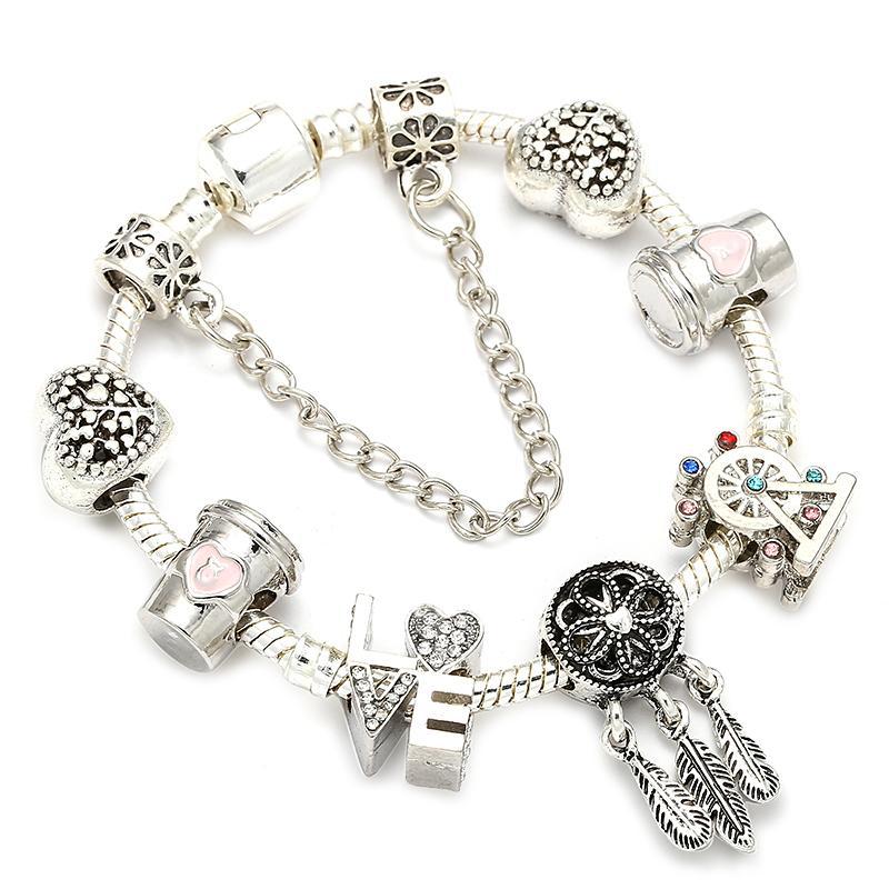 BAOPON Ferris Wheel & Coffee Cup Charm Bracelets With Snake Chain Fne Bracelet for Women Lover Jewelry Gift