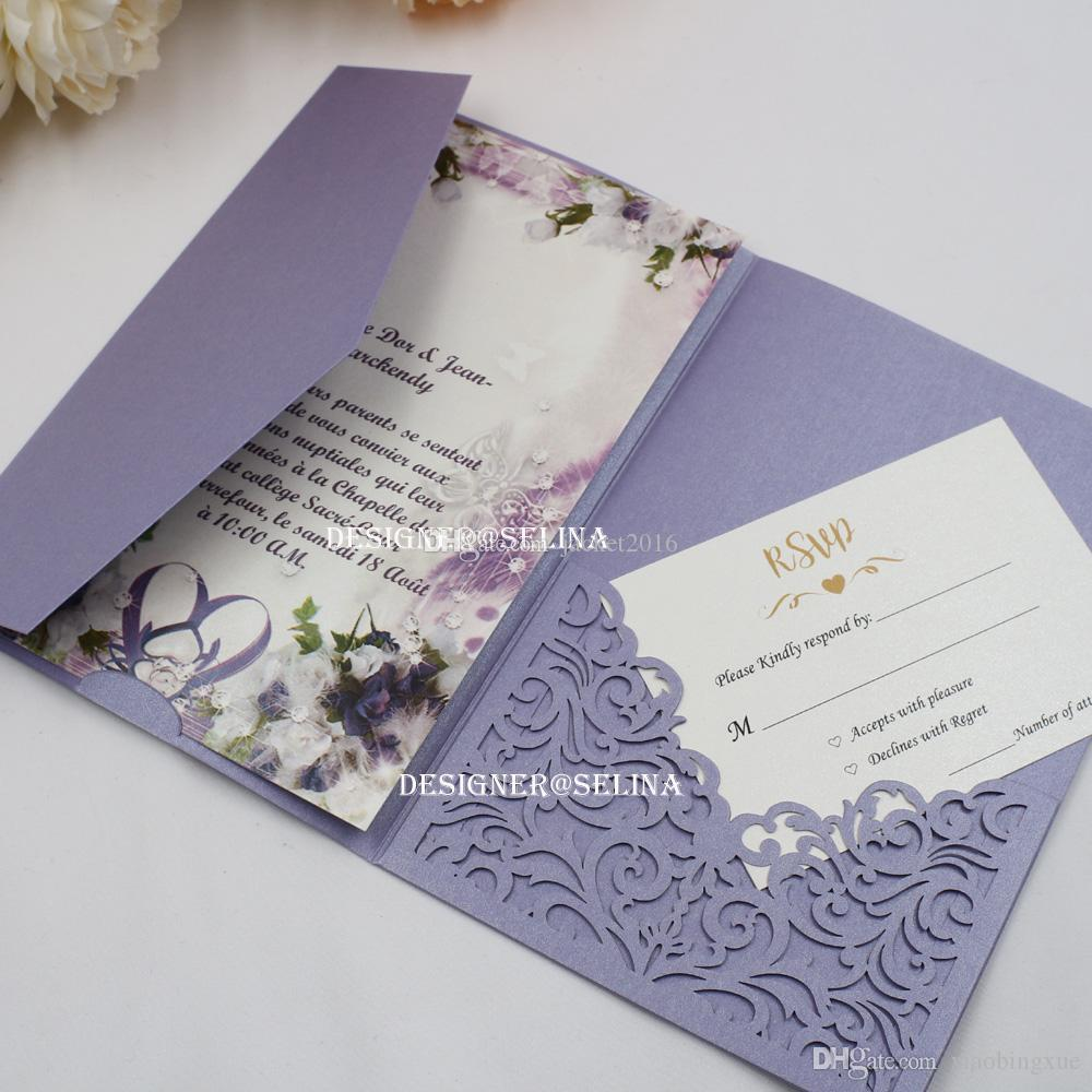 Lavender Trifold Pocket Wedding Invitations Laser Cut First Holy Communion Invitation With RSVP Card Quinceanera Invites