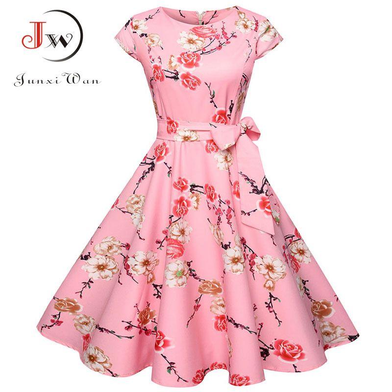 820e2cf604f 2019 Women Summer Floral Dress 50s Vintage Casual Elegant Print O Neck Party  Work Office Dress Retro Rockabilly Vestidos Y19041001 From Zhengrui07