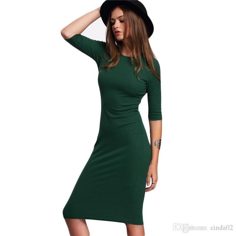 ef3e1e156b Compre Cool 2019 Work Style Mujeres Vestidos Ajustados Sexy Llegada Cuello  Redondo Verde Media Manga Vestido Midi A  90.46 Del Westcoast