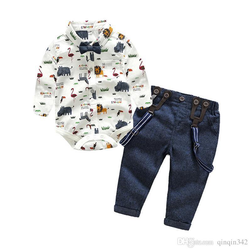 6b95ed86b Baby Boy Clothing Set Newborn Baby Boys Gentleman Clothes Infant Long  Sleeve Shirt+Overalls 2PCS Bebes Outfits Set