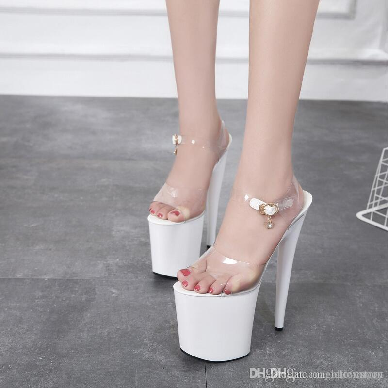 067a995dba9 White 20cm High Heeled Platform Sandals Woman Sexy Ankle Strap Buckle  Summer Heels Dress Shoes Women Open Toe PVC Stage Performance Shoe Womens  Sandals ...