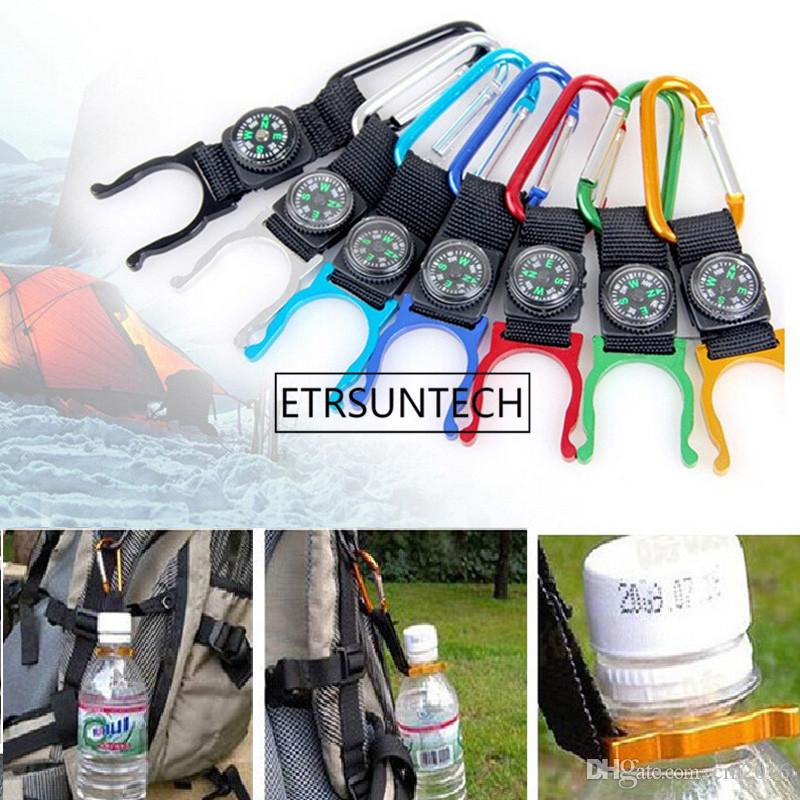 500pcs/lot Camping Hiking Climbing Water Bottle Holder clip Carabiner Buckle Hook Strap keychain with Compass outdoor tool