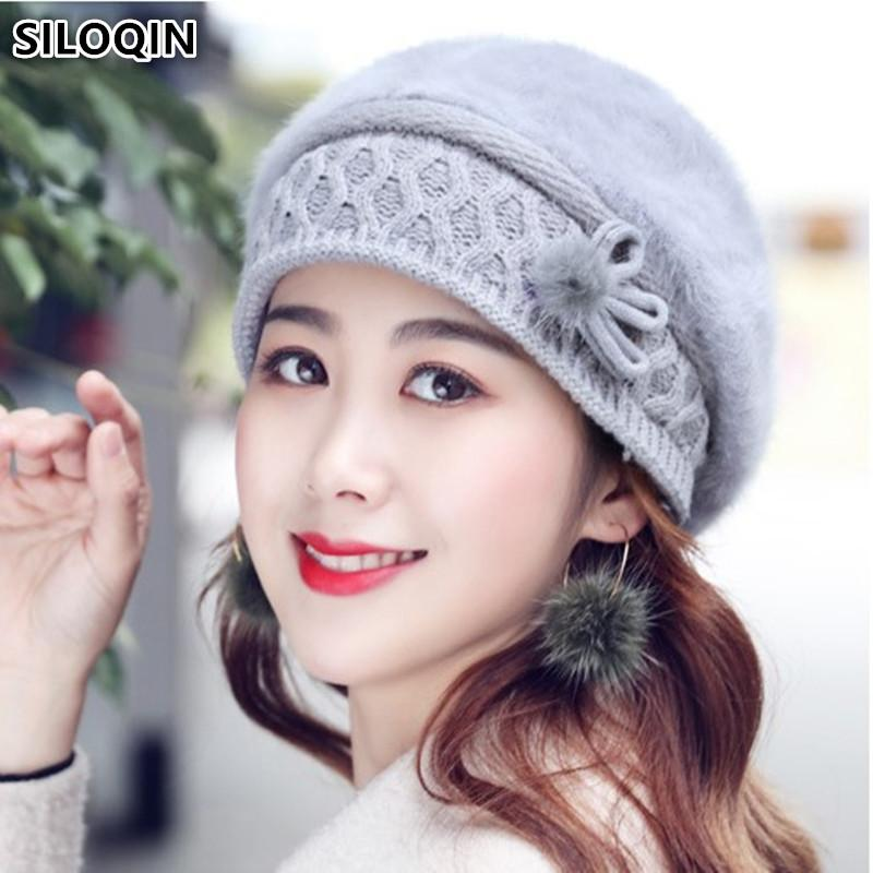 577536dead3e10 SILOQIN Fashion Elegant Women's Rabbit Fur Hat New Winter Thick Warm ...