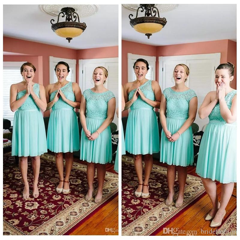 d3332fd47a 2019 Cheap Country Bridesmaid Dresses Short For Weddings Mint Turquoise  Chiffon Lace Illusion Knee Length Wedding Guest Maid of Honor Gowns