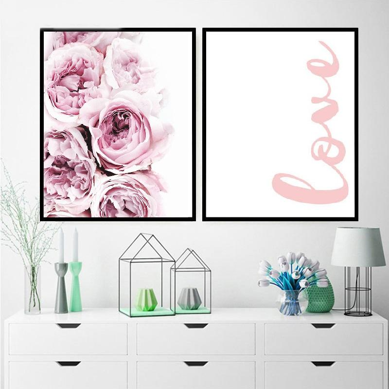 Painting Abstract Pink Flower Wall Decor Canvas Painting Love Quote Posters Scandinavian Style Nordic Prints For Girls Room
